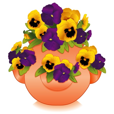 Gold and Purple Pansy Flowers in Clay Strawberry Jar Planter Vector