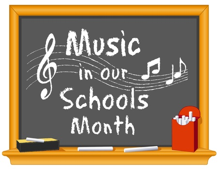 slate board: Music in Our Schools Month  March celebrates music in education  Text on wood frame blackboard, treble clef, notes, staff, box of chalk, eraser  EPS8  compatible