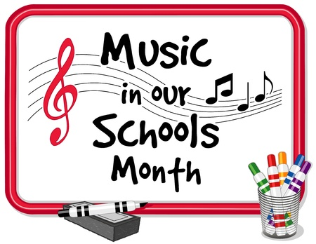 Music in Our Schools Month  March celebrates music in education  Text on red frame whiteboard, treble clef, notes, staff, multicolor marker pens and dry eraser  EPS8  compatible