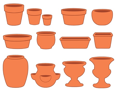 Tuin Bloempotten en Aardewerk Kleine, middelgrote en grote aarden potten, schotels, lamp pan, bonsai pan, azalea pot, ronde en vierkante plantenbakken, aardbei pot, vaas, twee urnen op wit wordt geïsoleerd EPS8 compatibel Vector Illustratie