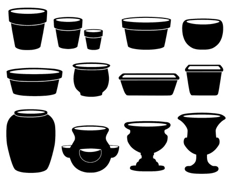 earthenware: Garden Flowerpots and Pottery  Small, medium and large clay pots, saucers, bulb pan, bonsai pan, azalea pot, round and square planters, strawberry jar, vase, two urns isolated on white  EPS8 compatible