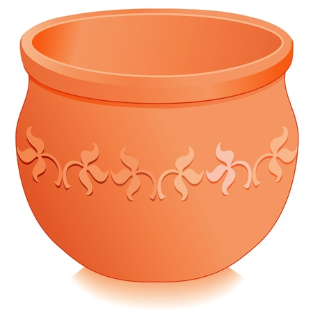 Flowerpot Planter  Round clay pottery with embossed floral designs isolated on white, for do it yourself garden projects   EPS8 compatible  Vector