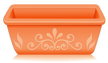 Flowerpot Planter  Rectangular clay pottery with embossed floral designs isolated on white, for do it yourself garden projects   EPS8 compatible  Vector