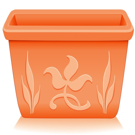 planter: Flowerpot Planter  Square clay pottery with embossed floral designs isolated on white, for do it yourself garden projects   EPS8 compatible