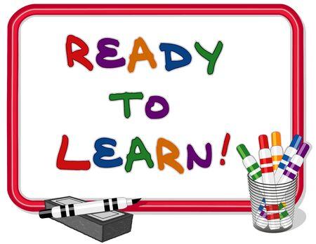whiteboard: Klaar om tekst te leren over rood kader whiteboard met veelkleurige markeerstiften en droge wisser EPS8 compatibel
