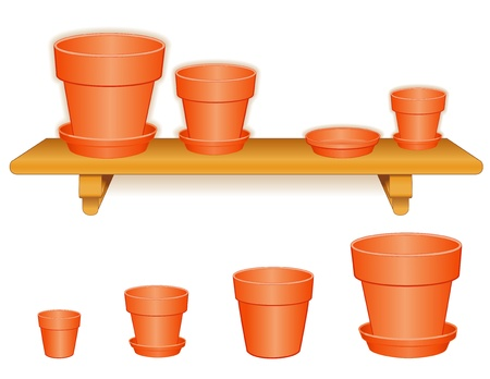 Garden Flowerpots on Wood Shelf  Standard clay pots in small, medium and large, saucers, isolated on white  Pottery for do it yourself projects  EPS8 compatible