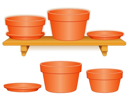 dyi: Garden Flowerpots on Wood Shelf  Clay azalea pot, bulb planter, saucers, isolated on white  Pottery for do it yourself projects  EPS8 compatible