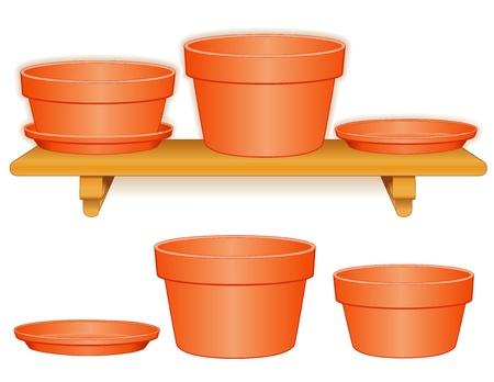 azal�e: Pots de fleurs de jardin sur une �tag�re en bois Clay pot azal�e, plantoir � bulbes, soucoupes, isol� sur la poterie blanche pour faire vous-m�me projette EPS8 compatibles