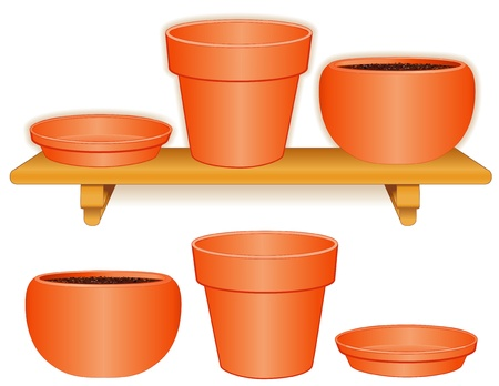 terracotta: Garden Flowerpots on Wood Shelf  Standard size pot, matching saucer, round clay planter isolated on white  Pottery for do it yourself projects  EPS8 compatible