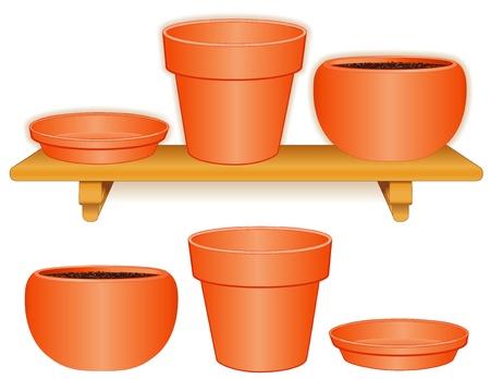 Tuin Bloempotten op hout plat Standaard maat pot, bijpassende schotel, ronde klei pot op een witte aardewerk voor doe-het-zelf projecten EPS8 compatibel Stock Illustratie