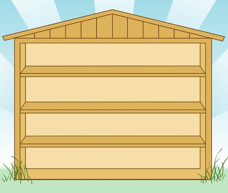 Garden Storage Shed with Shelves  EPS8 compatible  Stock Vector - 12392321