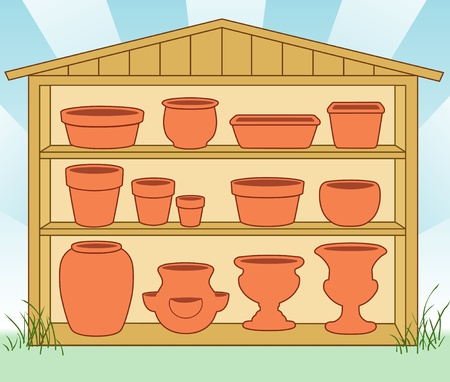 Garden Storage Shed, Flowerpots and Pottery on Shelves  Small, medium, large clay pots, saucers, bulb pan, bonsai pan, azalea pot, round and square planters, strawberry jar, vase, two urns  Pottery for do it yourself projects EPS8 compatible  Vector