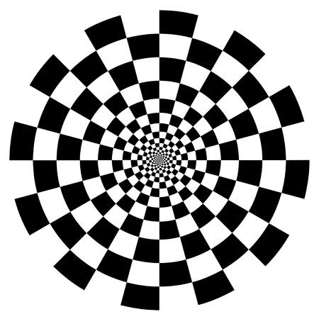 チェッカー ボード スパイラル デザイン錯覚背景パターン、白い EPS8 の黒