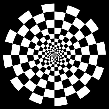 Checkerboard Spiral Design Illusion Background Pattern, white on black  EPS8  Vector