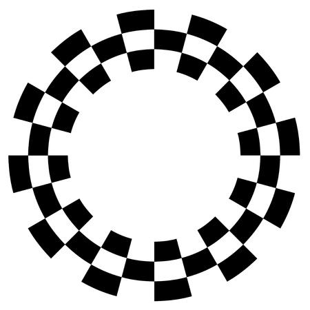 Checkerboard Frame, Spiral Design Border Pattern, Copy Space, Black on White  EPS8