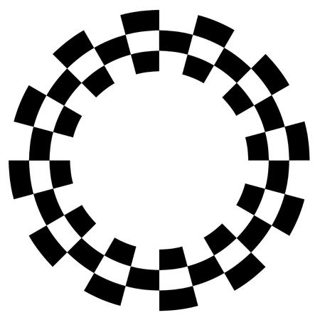 Checkerboard Frame, Spiral Design Border Pattern, Copy Space, Black on White  EPS8