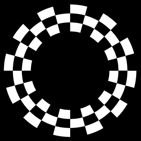 Checkerboard Frame, Spiral Design Border Pattern, Copy Space, White on Black  EPS8  Vector