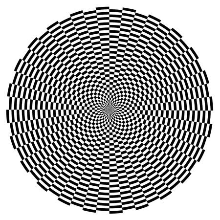 Spiral Design Illusion Background Pattern, Black on White EPS8