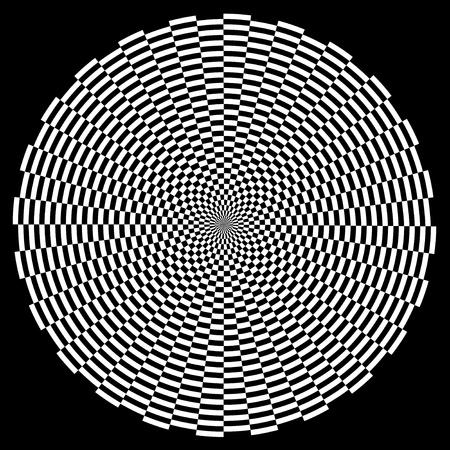 Spiral Design Illusion Background Pattern, White on Black  EPS8  Illustration