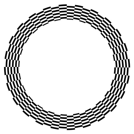 Checkerboard Frame, Spiral Design Border Pattern, Copy Space, Black on White  EPS8  Ilustrace