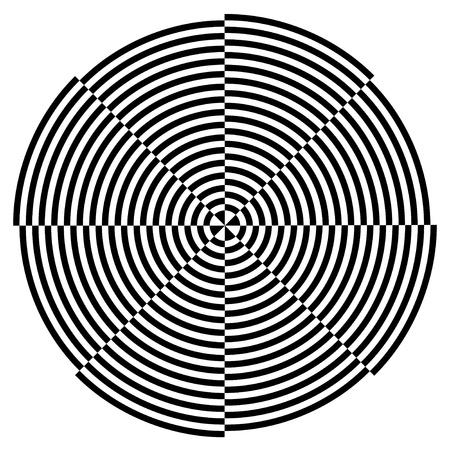 Spiraal Ontwerp Illusie, Broken Achtergrond Patroon, Zwart op Wit EPS8