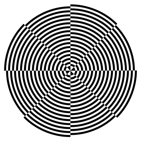 Spiral Design Illusion, Broken Background Pattern, Black on White  EPS8  Vector