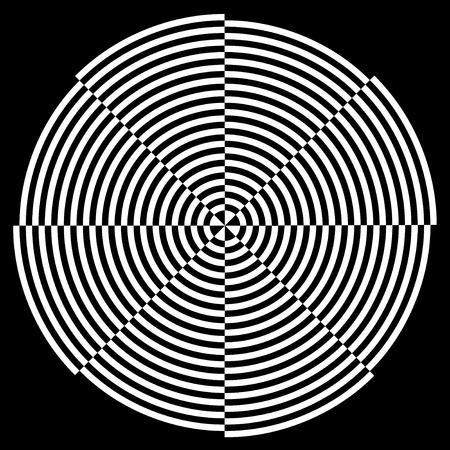 eyestrain: Spiral Design Illusion, Broken Background Pattern, White on Black  EPS8  Illustration