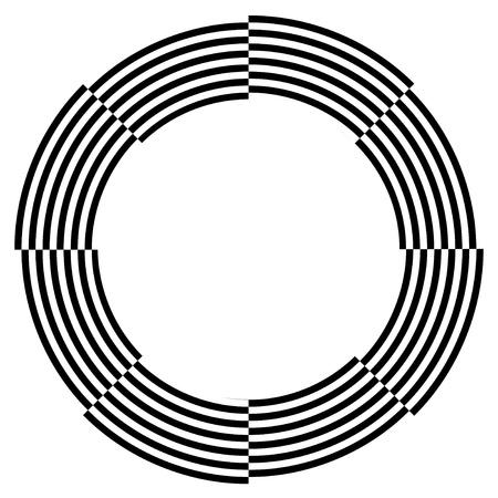 Spiral Frame, Illusion Border, Broken Pattern Design, Copy Space, Black on White  EPS8  Illustration