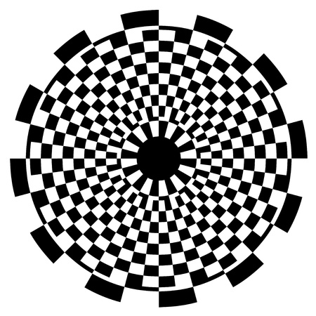 Checkerboard Spiral Design Illusion Background Pattern, black on white  EPS8   Vector