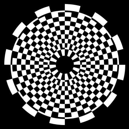 extra sensory perception: Checkerboard Spiral Design Illusion Background Pattern, white on black  EPS8  Illustration