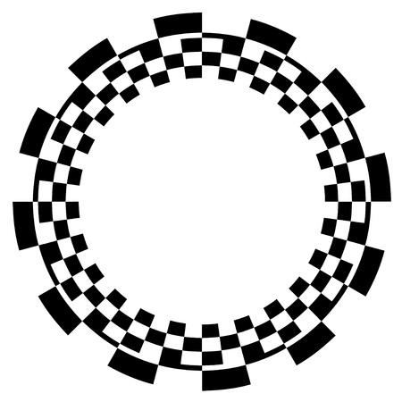 Checkerboard Frame, spiraalvormig ontwerp Border Pattern, exemplaar ruimte, Zwart op Wit EPS8
