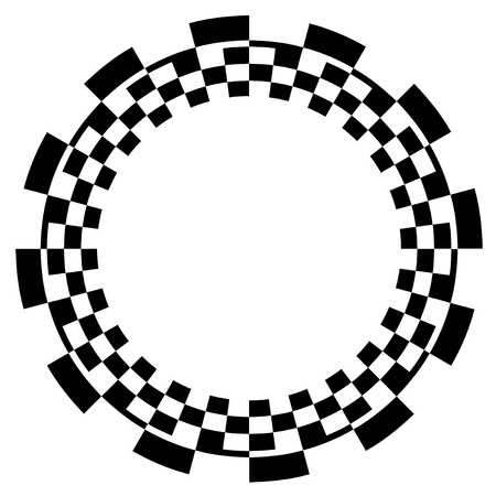 Checkerboard Frame, Spiral Design Border Pattern, Copy Space, Black on White  EPS8  Vector