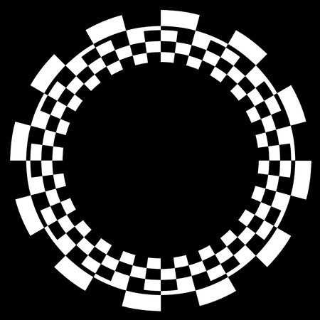 Checkerboard Frame, Spiral Design Border Pattern, Copy Space, White on Black  EPS8