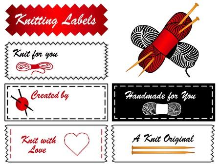 Knitting Labels  Needles Illustration