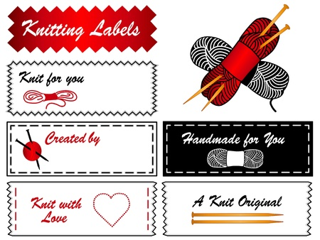 sew tags: Knitting Labels  Needles Illustration