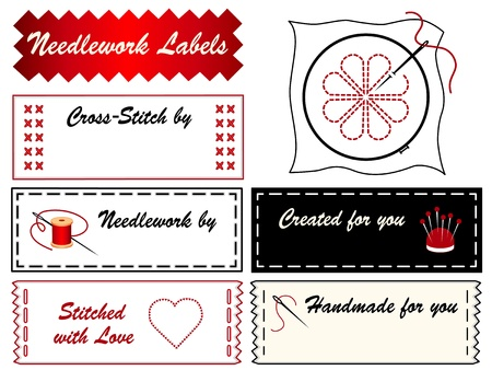 needlework: Ricamo etichette Vettoriali
