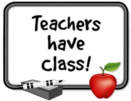 마커 펜, 지우개, 큰 빨간 사과와 화이트 보드 일러스트