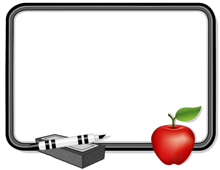 pen and marker: Whiteboard with big red apple for the teacher, marker pen, eraser