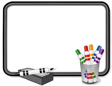 Tableau blanc avec Marqueurs multicolores Banque d'images - 12797621