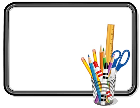 Whiteboard with Office and Art Supplies Banco de Imagens - 12797619