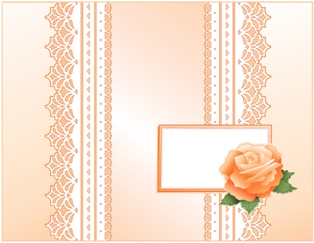 Antique Lace, Victorian style, pastel coral satin, heritage Rose flower, Gift card with copy space for Mother s Day, birthdays, anniversaries, weddings, showers, celebrations   Vector
