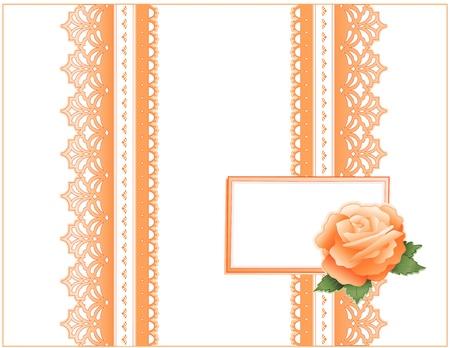 Vintage Lace, Victoriaanse stijl, pastel koraal, erfgoed Rose bloem, cadeau kaart met kopie ruimte voor verjaardagen, jubilea, Mother's Day, bruiloften, douches, vieringen Stockfoto - 12972618