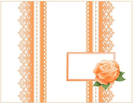 Vintage Lace, Victorian style, pastel coral, heritage Rose flower, Gift card with copy space for birthdays, anniversaries, Mother s Day, weddings, showers, celebrations   Vector