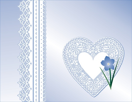 Vintage Lace Heart, Victorian style gift in pastel blue satin, Forget Me Not flower,  Copy space for Mother s Day, birthdays, anniversaries, weddings, showers, celebrations   Vector