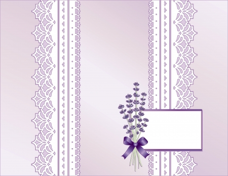 Antique Lace, Victorian style, pastel lavender satin, Sweet Lavender flower bouquet, Gift card with copy space for Mother s Day, birthdays, anniversaries, weddings, showers, celebrations   Stock Vector - 12972633