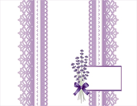 Vintage Lace, Victorian style, pastel violet, Sweet Lavender flower bouquet,  Gift card with copy space for birthdays, anniversaries, Mother s Day, weddings, showers, celebrations   Vector