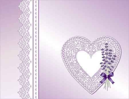 Vintage Lace Heart, Victorian style gift in pastel satin, Sweet Lavender flower bouquet,  Copy space for Mother s Day, birthdays, anniversaries, weddings, showers, celebrations   Vector
