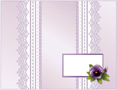Antique Lace, Victorian style, pastel lavender satin, violet Pansy flower, Gift card with copy space for Mother s Day, birthdays, anniversaries, weddings, showers, celebrations   Vector