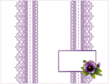Vintage Lace, Victorian style, pastel lavender, Pansy flower,  Gift card with copy space for birthdays, anniversaries, Mother s Day, weddings, showers, celebrations   Vector