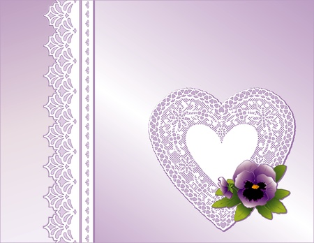 Vintage Lace Heart, Victorian style gift in pastel lavender satin, Pansy flower,  Copy space for Mother s Day, birthdays, anniversaries, weddings, showers, celebrations   Vector
